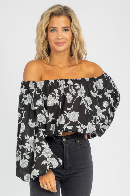 BLACK BUBBLE SLEEVE FLORAL TOP