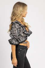 BLACK FLORAL LACE BACK TOP