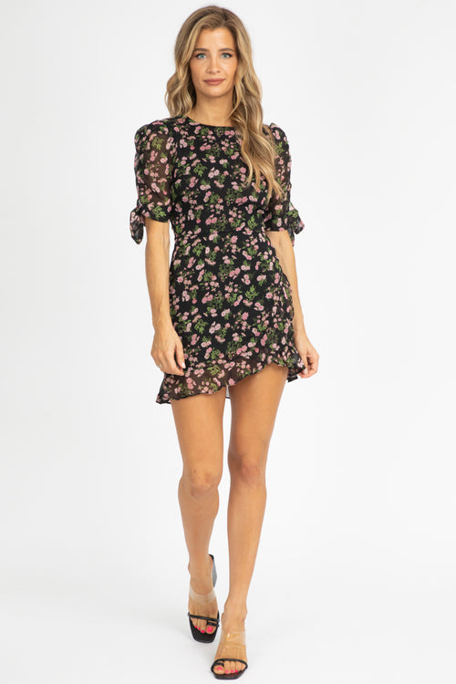 BLACK FLORAL RUFFLE MINI DRESS