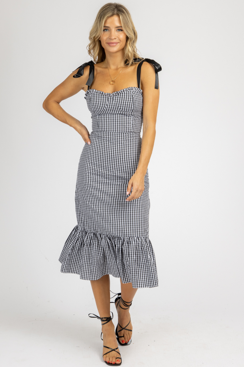 BLACK GINGHAM TIE STRAP MIDI DRESS *RESTOCKED*