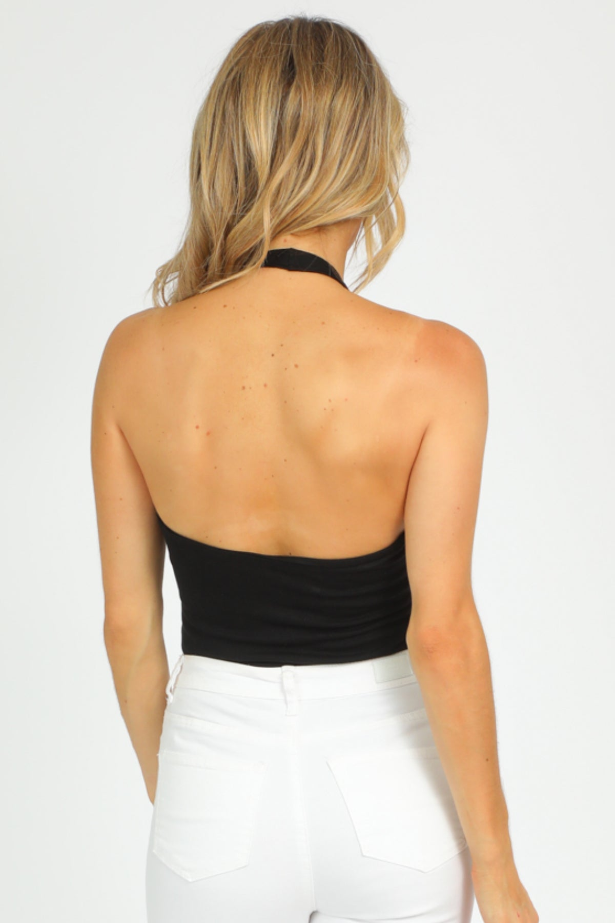 BLACK TWIST HALTER BODYSUIT