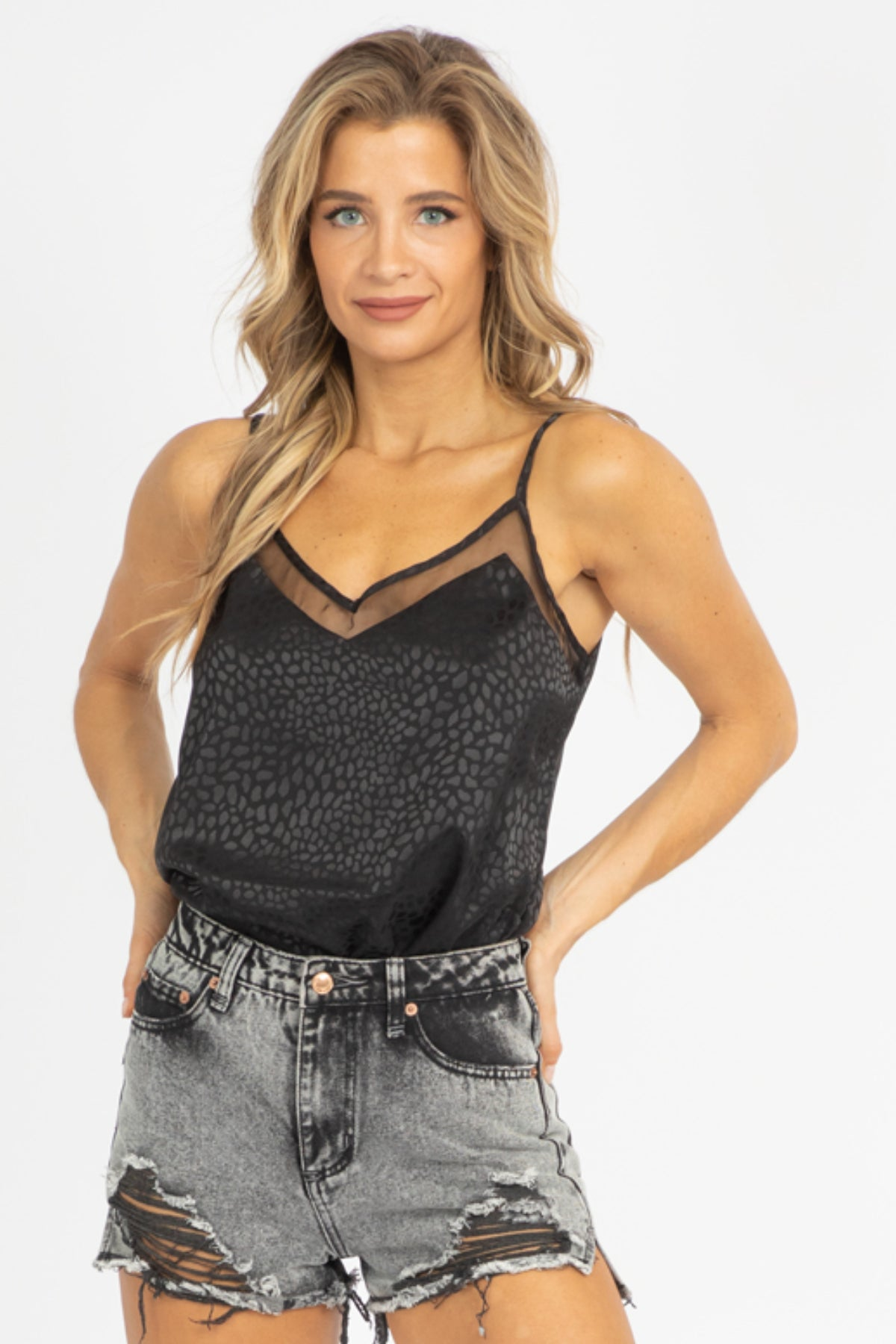 BLACK JACQUARD SATIN TANK