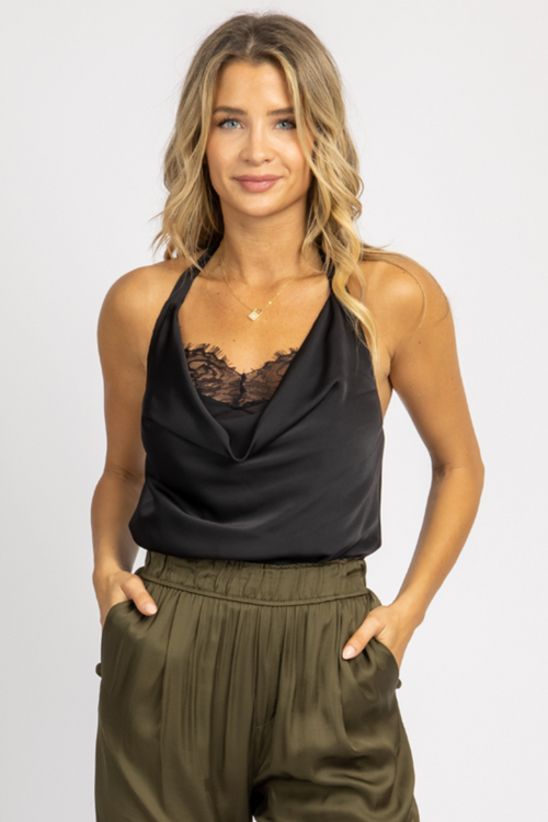 BLACK SATIN LACE HALTER TOP