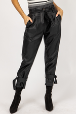 LEATHER PLEATED ANKLE TIE PANTS