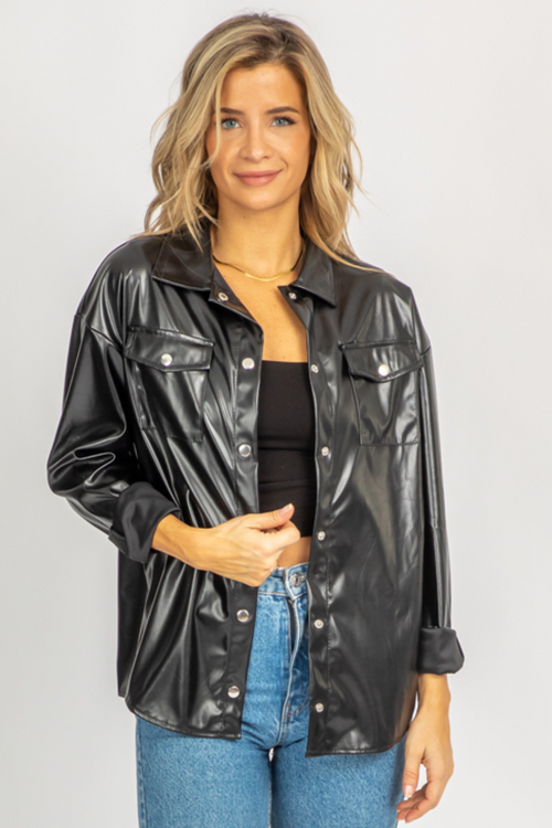 BLACK LEATHER SHIRT JACKET