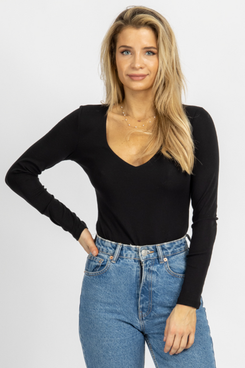 BLACK LINED LONGSLEEVE BODYSUIT