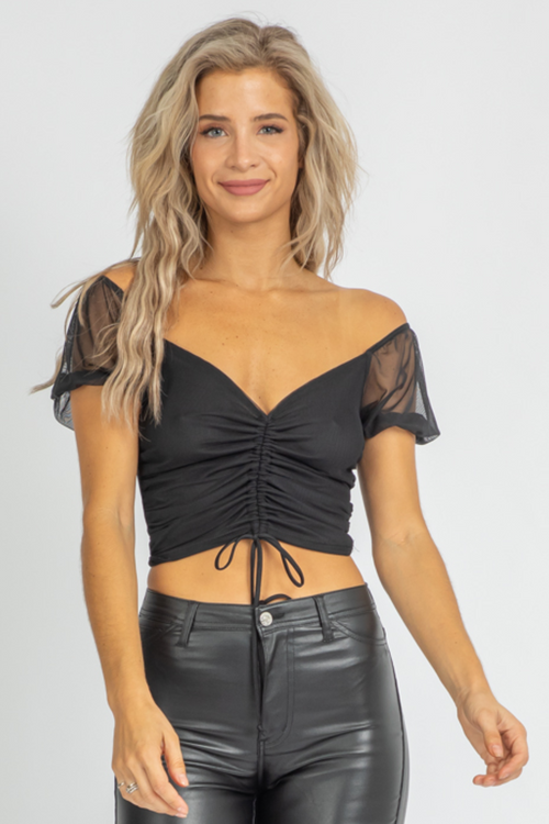 MIDNIGHT MESH RUCHED CROP