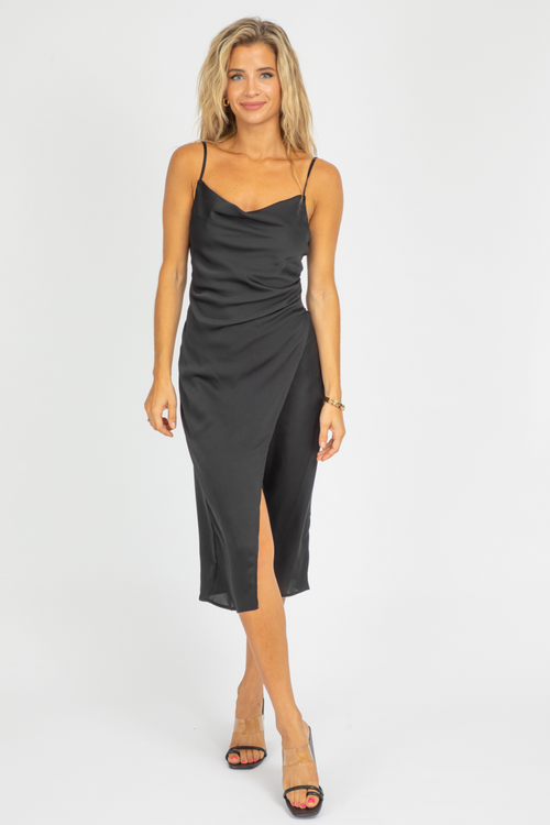 BLACK MIDI SLIP DRESS