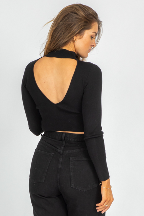 BLACK OPEN BACK MOCKNECK SWEATER