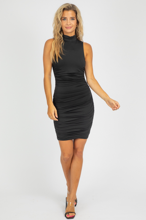 BLACK RUCHED MOCK NECK MINI