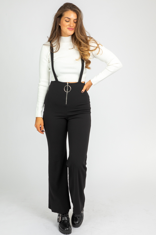 BLACK O-RING ZIP JUMPSUIT