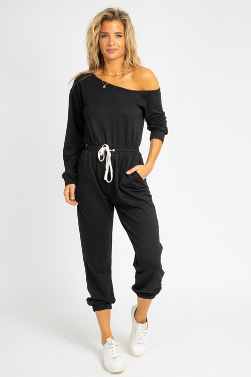 OFF-SHOULDER LOUNGE JUMPSUIT