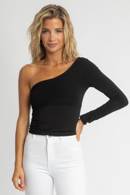 BLACK LAYERED ONE SLEEVE TOP