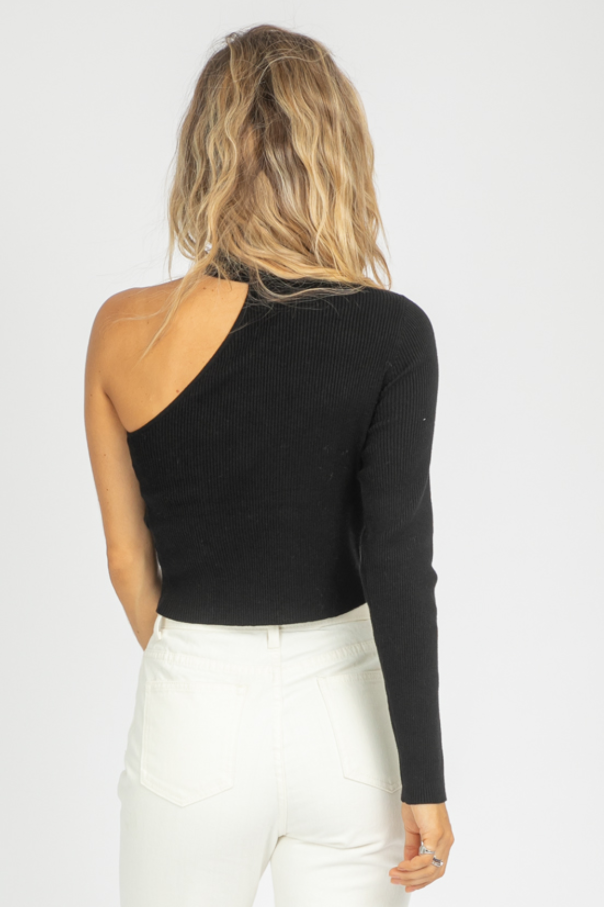 BLACK ONE SHOULDER MOCK NECK SWEATER