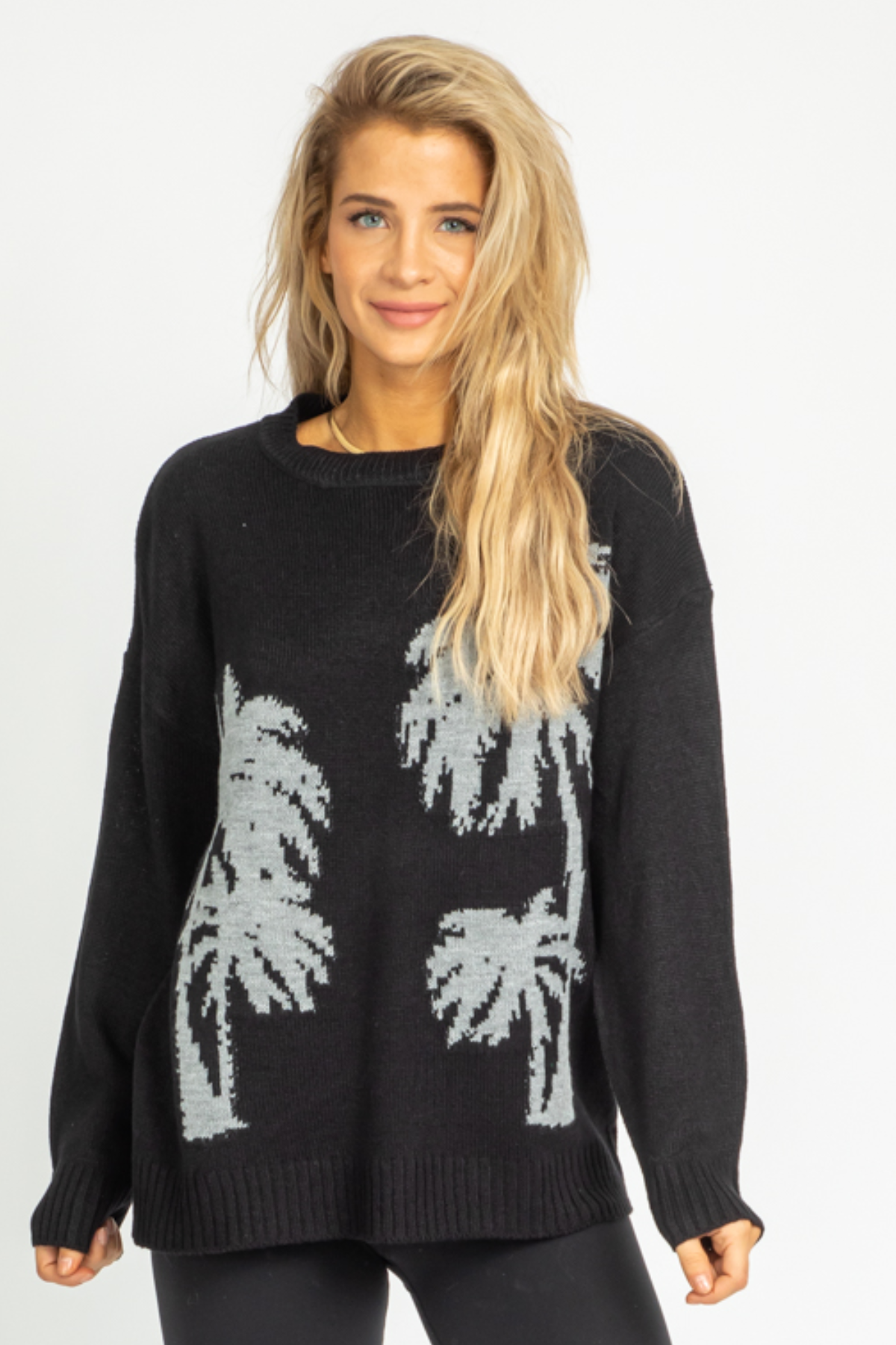 BLACK PALM KNIT SWEATER