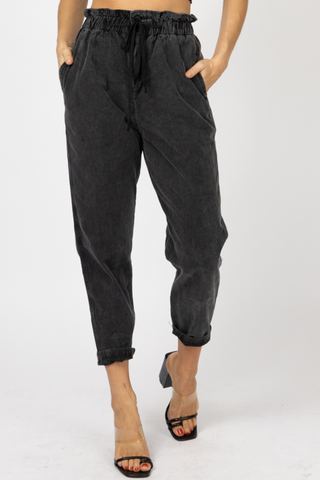 HIGH RISE DENIM PAPERBAG JOGGERS