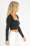 PEARL BUTTON KNIT TOP