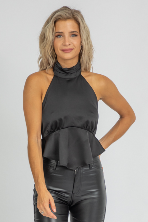 BLACK SATIN PEPLUM BLOUSE