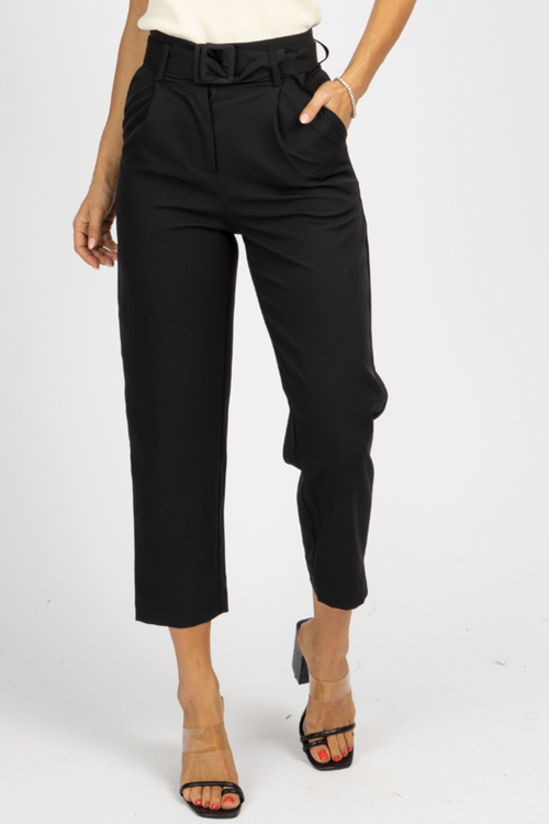 BLACK BELTED STRAIGHT LEG TROUSERS