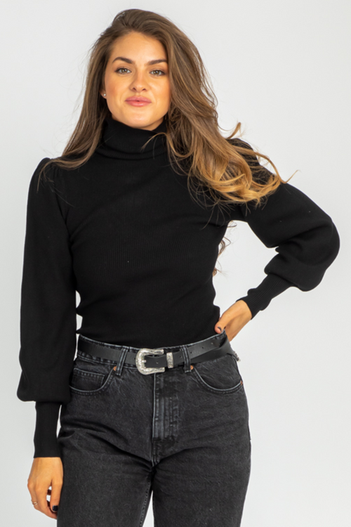 BLACK PUFF SLEEVE TURTLENECK KNIT