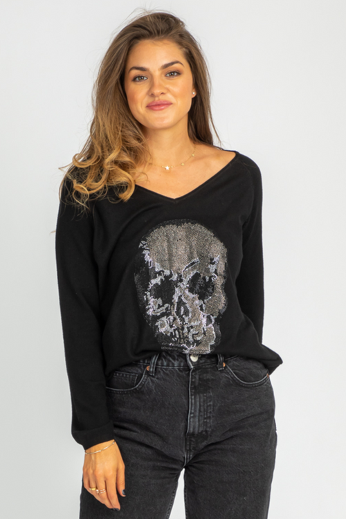 BLACK RHINESTONE SKULL SWEATER