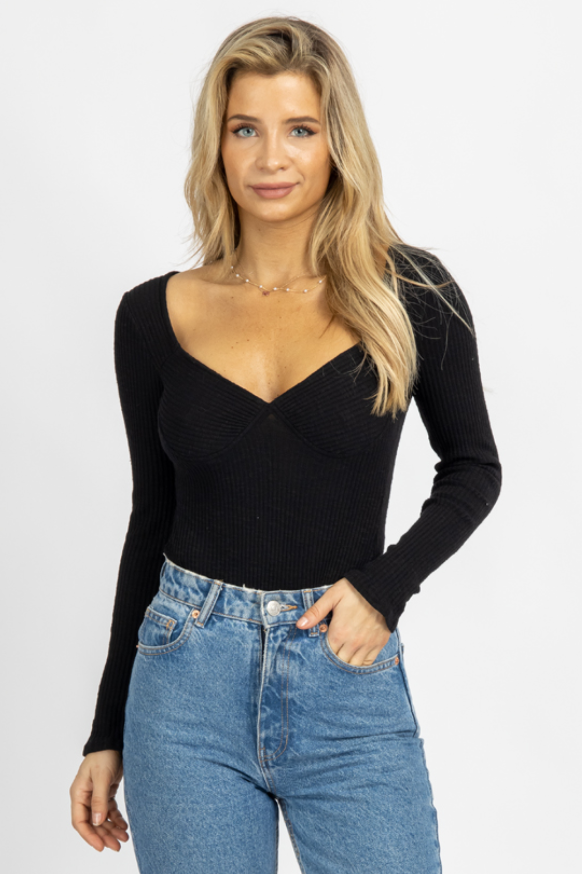 BLACK KNIT BUSTIER BODYSUIT