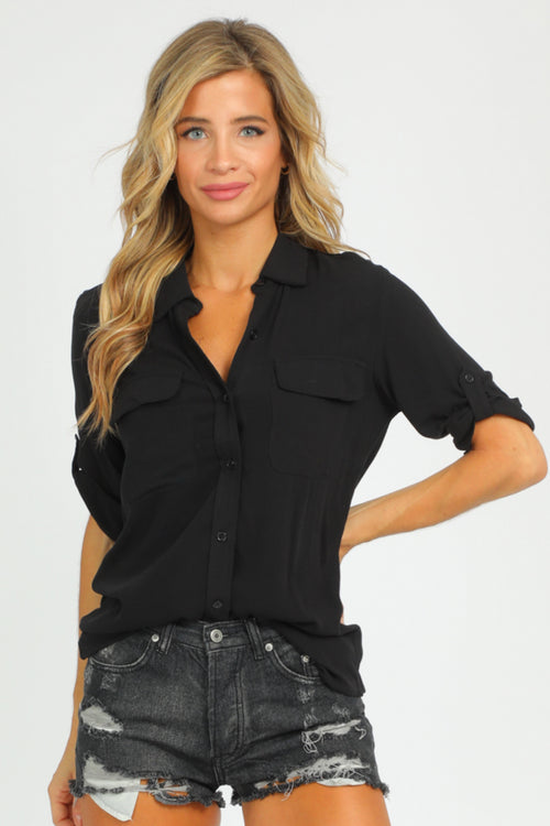 BLACK ROLL SLEEVE BUTTON UP