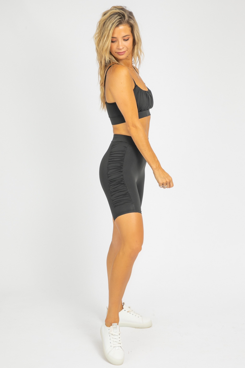 RUCHED BIKER SHORT SET