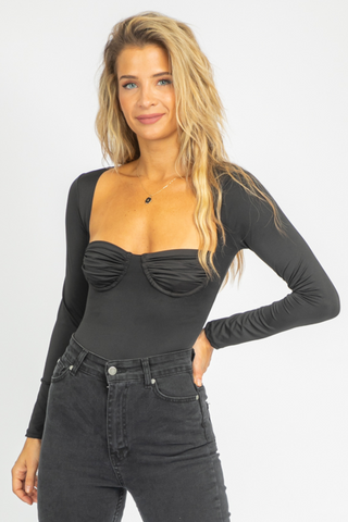 BLACK PUFF SLEEVE TIE BACK TOP