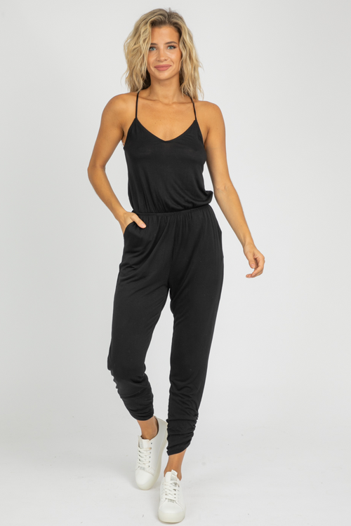 BLACK V-NECK RUCHED LEG JUMPSUIT