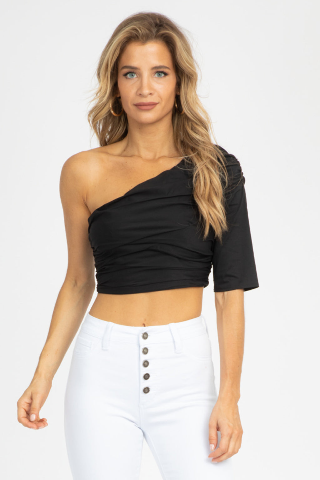 BLACK ONE SLEEVE RUCHED TOP