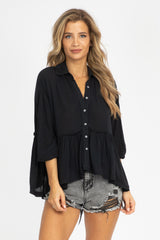 BLACK RUFFLED BUTTON UP