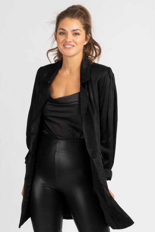 BLACK SATIN BOYFRIEND BLAZER