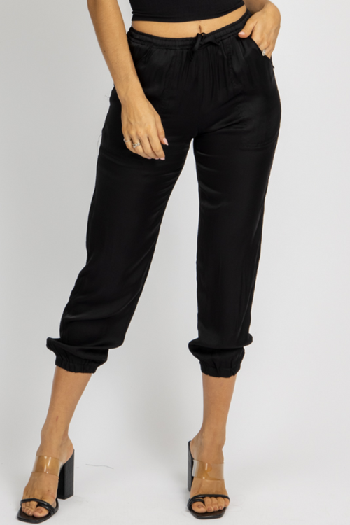 BLACK SATIN DRAWSTRING JOGGERS