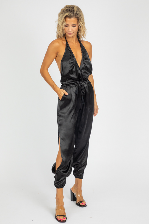 BLACK SATIN HALTER JUMPSUIT
