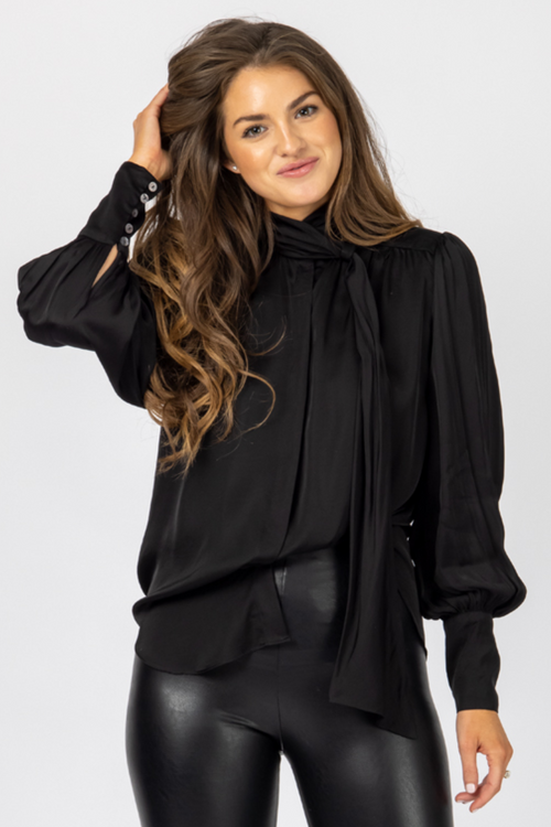 BLACK NECK TIE SATIN BLOUSE