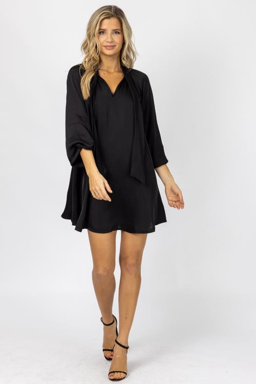 BLACK SATIN NECK TIE DRESS
