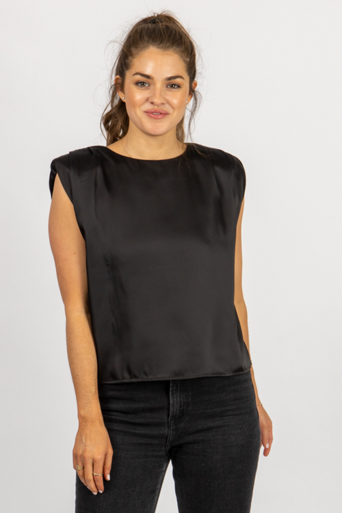 BLACK SATIN SHOULDER PAD TOP