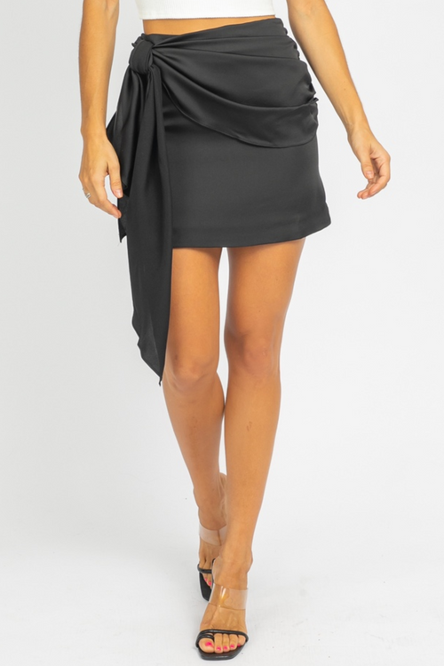 BLACK TIE FRONT MINI SKIRT