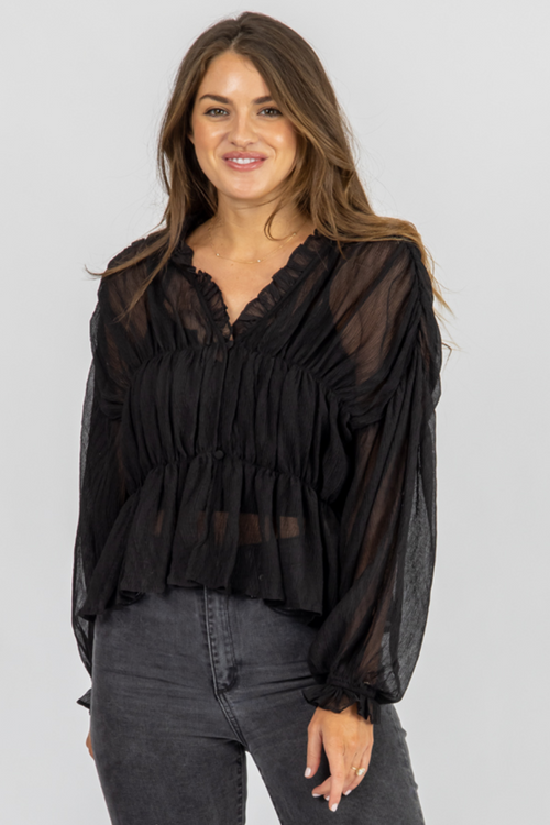 BLACK SHIRRED SHEER BLOUSE