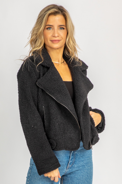 BLACK SHERPA COLLARED COAT