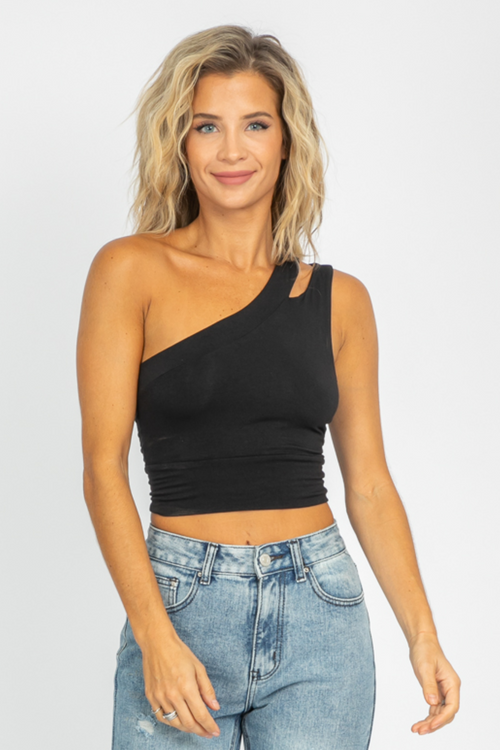 BLACK KNIT CUTOUT SHOULDER CROP