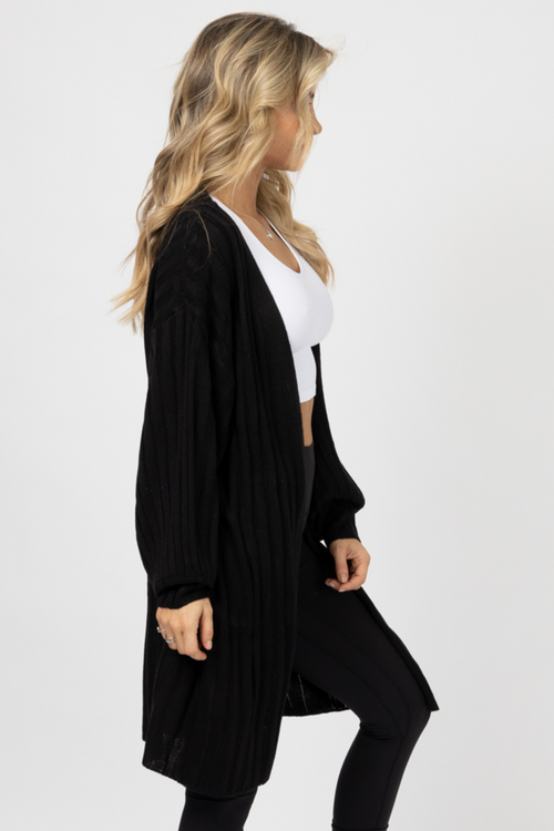 BLACK SIDE POCKET CARDIGAN