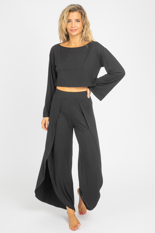 BLACK ROUND-NECK PANT SET