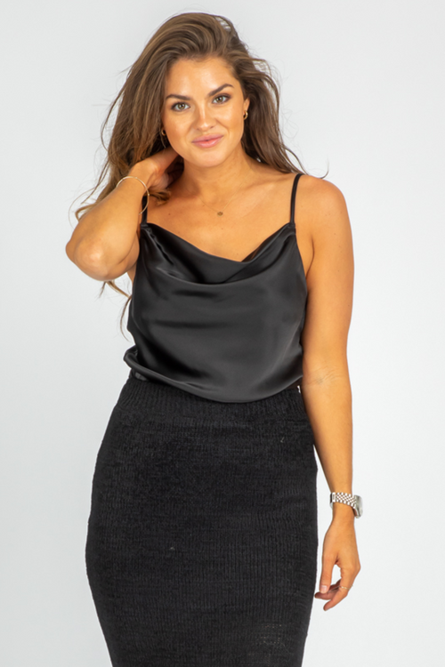 BLACK SATIN COWL CAMI BODYSUIT