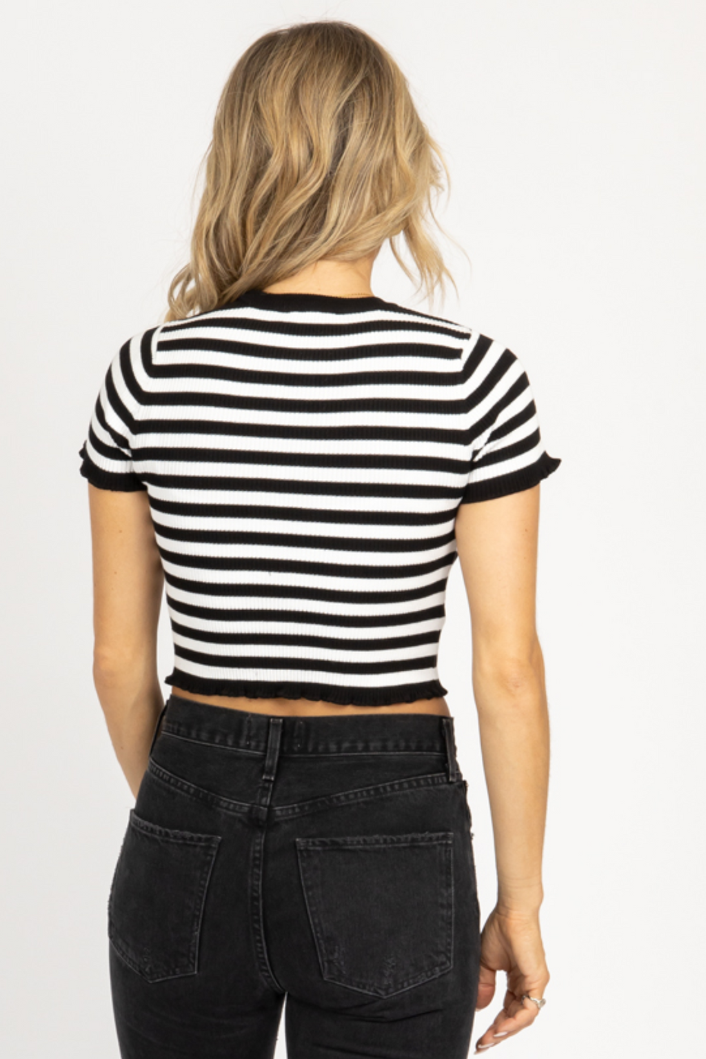 BLACK STRIPED RUFFLE HEM TOP