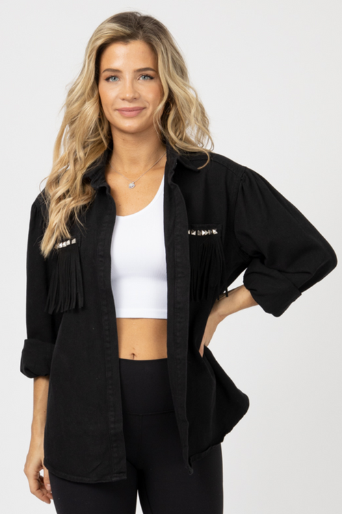 BLACK STUDDED FRINGE POCKET JACKET