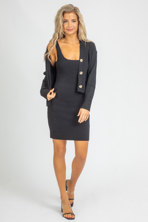BLACK CARDIGAN DRESS SET