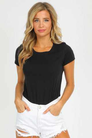 BLACK RUCHED TIE-BACK BODYSUIT