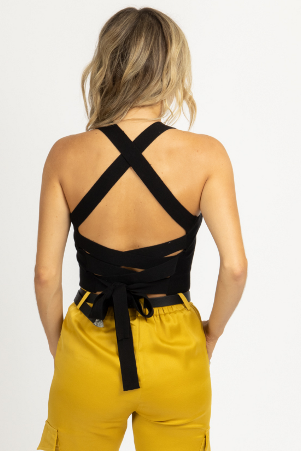 BLACK TIE BACK KNIT CAMI *RESTOCK COMING SOON*